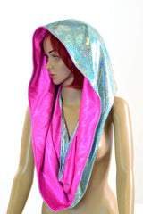 Seafoam & Neon Pink HUGE Reversible Festival hood - Coquetry Clothing