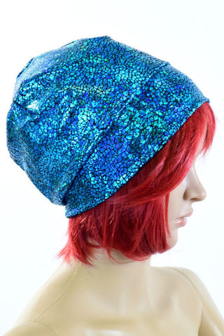 Turquoise Holographic Beanie