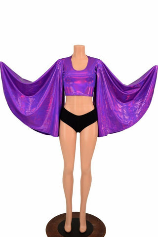 Purple Fan Sleeve Crop Top - Coquetry Clothing