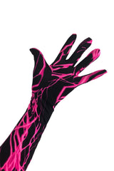 UV Glow Neon Pink Lightning Gloves - Coquetry Clothing