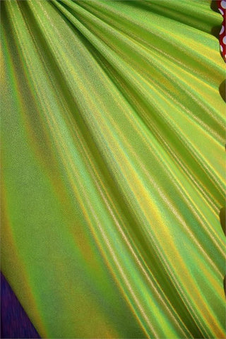 Lime Holographic Spandex Fabric - Coquetry Clothing