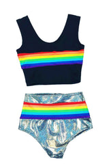 Retro Rainbow Crop Tank & Siren Set - Coquetry Clothing
