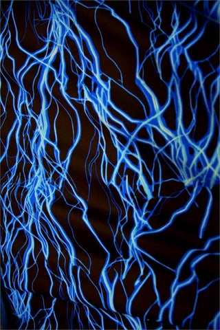 Neon Blue Lightning Fabric