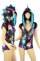 Galaxy Dragon Zipper Hoodie Romper - Coquetry Clothing