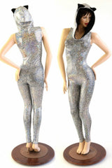 Kitty Ear Cat Suit in Silver on Black Shattered Glass - Coquetry Clothing