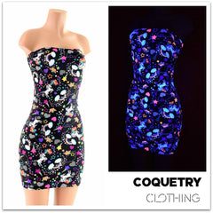 Strapless Unicorn & Rainbow Print Dress - Coquetry Clothing