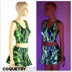 Neon Lightning Tank & Skirt Set - Coquetry Clothing