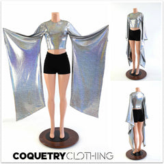 Crew Neck Kimono Crop Top - Coquetry Clothing