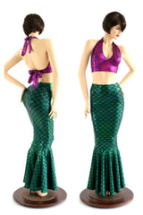 2PC Mermaid Skirt & Fuchsia Halter Set - Coquetry Clothing