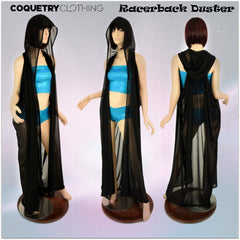Black Mesh Hooded Racerback Duster - Coquetry Clothing
