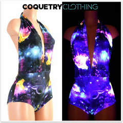 """Josie"" Romper in UV Glow Galaxy - Coquetry Clothing"