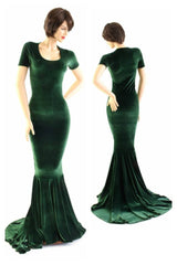 Forest Green Velvet Gown - Coquetry Clothing
