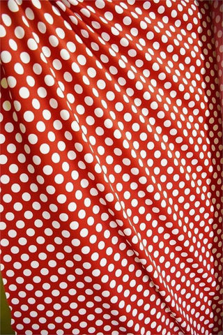 Red and White Polka Dot Fabric - Coquetry Clothing
