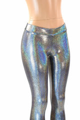 Silver Holographic Mid Rise Leggings - Coquetry Clothing