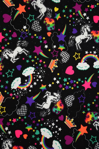 UV Glow Unicorns and Rainbows Fabric - Coquetry Clothing