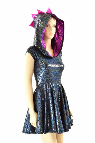 Black & Pink Dragon Skater Dress - Coquetry Clothing