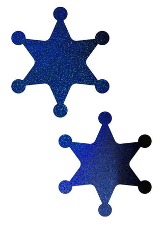 Blue Sparkly Jewel Sheriff Star Pasties - Coquetry Clothing