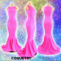 Pink Holographic Puddle Train Gown - Coquetry Clothing