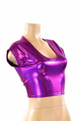 Fuchsia Holographic Crop Top - Coquetry Clothing