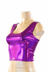 Fuchsia Holographic Crop Tank - Coquetry Clothing