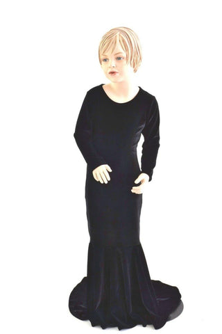 Girls Black Velvet Morticia Gown - Coquetry Clothing