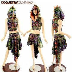 Dragon Tail Skirt & Crop Hoodie Set - Coquetry Clothing