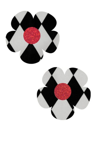 Black & White Diamond Daisy Pasties - Coquetry Clothing