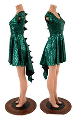 Dragon Spiked Pocket Skater Dress with Dragontail Hemline - Coquetry Clothing