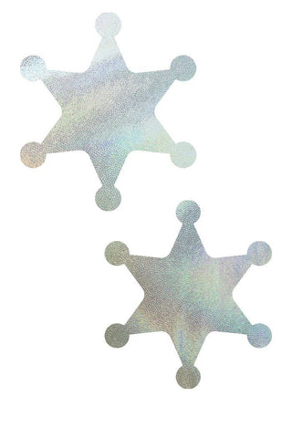 Flashbulb Holographic Sheriff Star Pasties - Coquetry Clothing