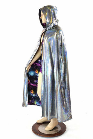 Silver & Galaxy Reversible Hooded Cape - Coquetry Clothing