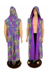 Sleeveless Reversible Hooded Duster - Coquetry Clothing