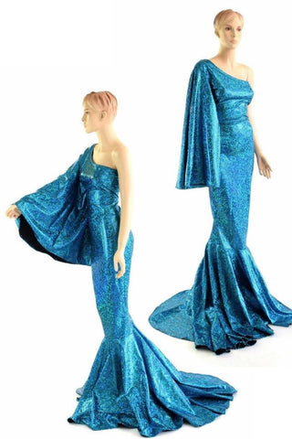 """Sea Goddess"" One Shoulder Turquoise Puddle Train Gown - Coquetry Clothing"