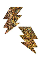 Gold Holographic Bolt Pasties - Coquetry Clothing