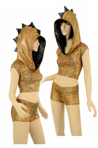 Gold Dragon Hoodie & Shorts Set - Coquetry Clothing