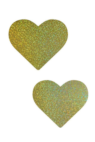 Gold Sparkly Jewel Heart Pasties - Coquetry Clothing