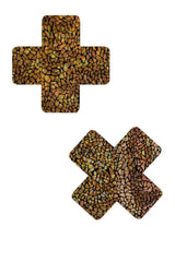 Gold on Black Shattered Glass Cross Pasties - Coquetry Clothing