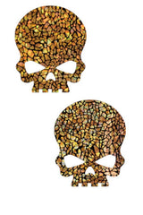Gold Shattered Glass Skulls Pasties - Coquetry Clothing