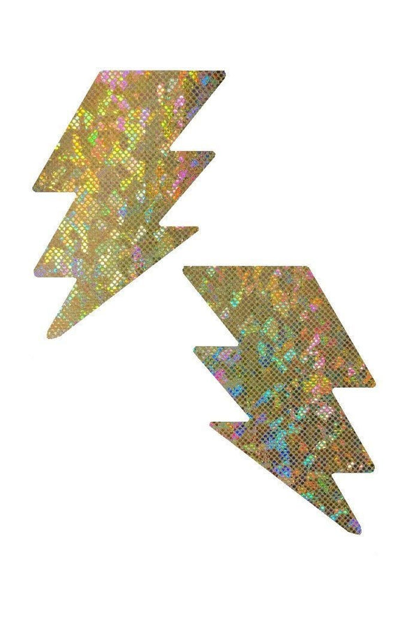 Gold Sparkly Jewel Holographic Bolt Pasties Body Stickers Lightning