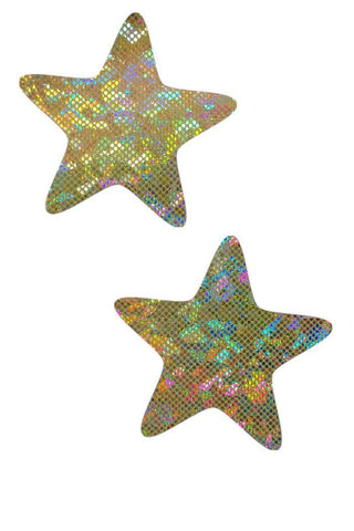 Gold on Gold Shattered Glass Star Pasties - Coquetry Clothing