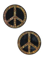 Black & Gold Peace Sign Pasties - Coquetry Clothing