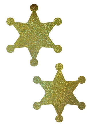Gold Sparkly Jewel Sheriff Star Pasties - Coquetry Clothing