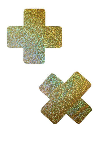 Gold Sparkly Jewel Cross Pasties - Coquetry Clothing