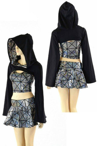 3PC Black & Silver Bolero Set - Coquetry Clothing