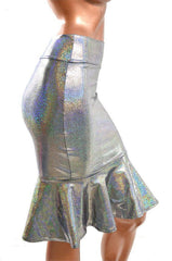 Silver Holographic Ruffled Wiggle Skirt - Coquetry Clothing