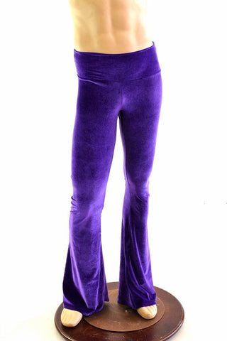Mens Purple Velvet Bootcut Pants - Coquetry Clothing