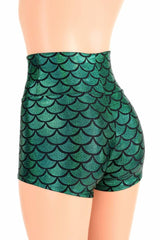 Green Mermaid High Waist Shorts - Coquetry Clothing
