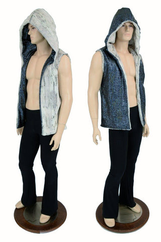 Mens Minky Faux Fur Hooded Vest - Coquetry Clothing