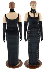 Double Lace Up Thin Strap Velvet Gown (Collar and Gloves Sold Separately) - Coquetry Clothing