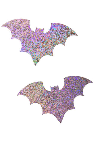 Lilac Holographic Bat Pasties - Coquetry Clothing