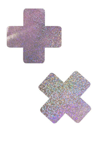 Lilac Holographic Cross Pasties - Coquetry Clothing